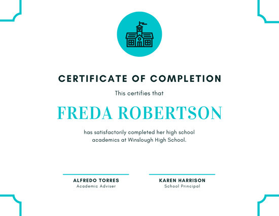 White Blue Bordered Icon High School Diploma Certificate