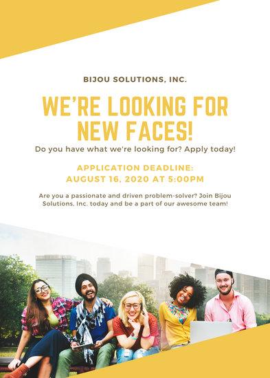 Yellow White Job Post / Vacancy / Announcement Flyer