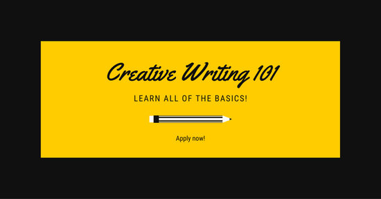 Black and Yellow Writing 101 Workshop Facebook Ad