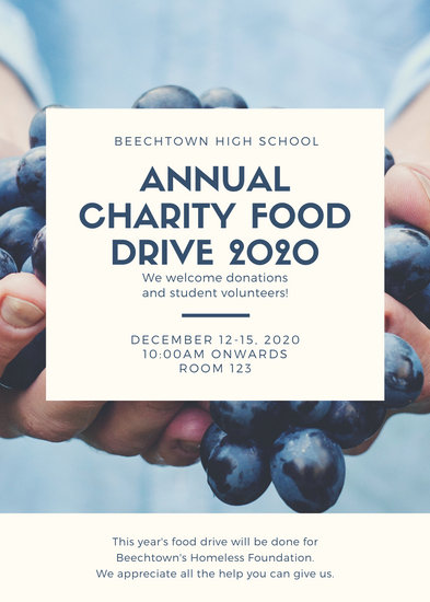 Blue Photo Collage Food Drive Flyer