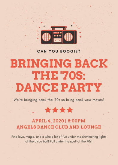 Red 70's Dance Party Flyer