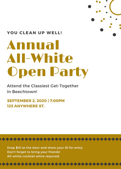 White and Gold All White Party Flyer