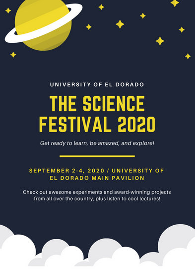 Dark Blue and Yellow Space Themed Science Flyer