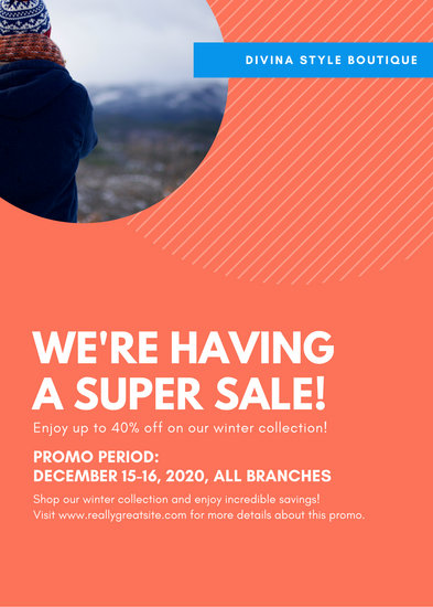 Blue and Orange Fashion Sale Flyer