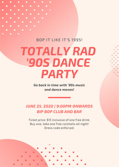 Red Polka Dots Dance Party Flyer