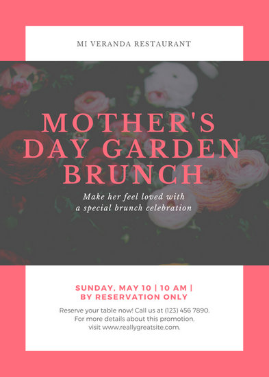 Pink Bordered Floral Mother's Day Event Promotion Flyer