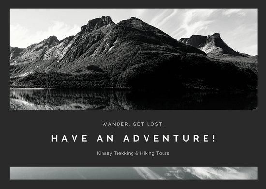 Monochrome Mountain Landscape Photo Travel Postcard