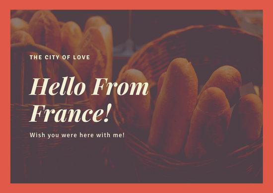 French Bread Basket Simple Orange Postcard