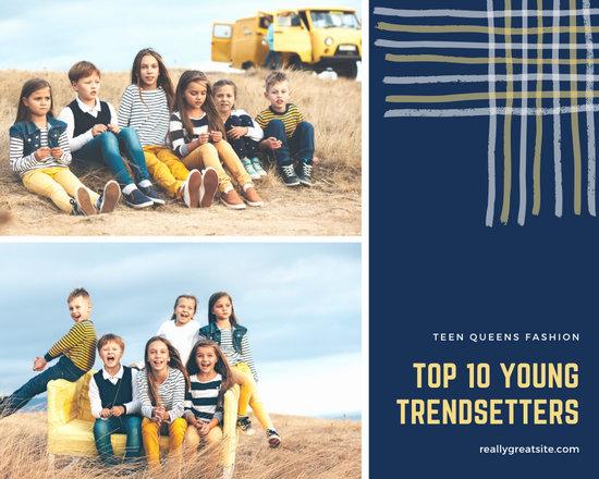 Dark Blue and Yellow Kid's Fashion Photo Collage