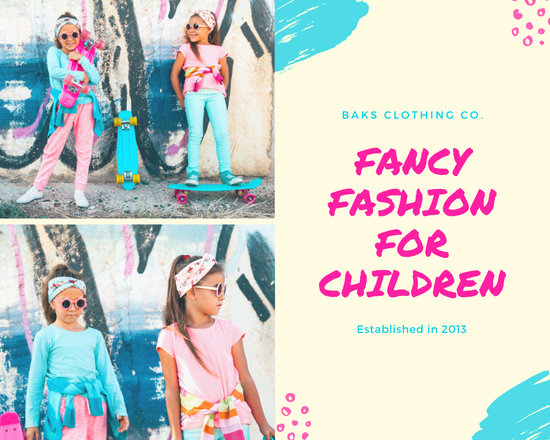 Blue and Pink Brush Strokes Kid's Fashion Photo Collage
