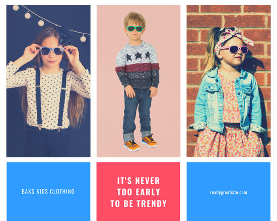 Pink and Blue Kids' Fashion Photo Collage