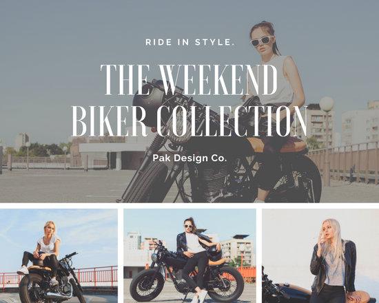 Biker Girl Fashion Photo Collage