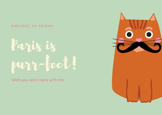 Mint Cute Cat French Postcard