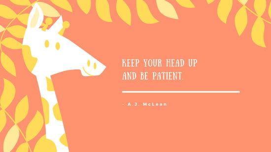 Orange Giraffe Motivational Desktop Wallpaper