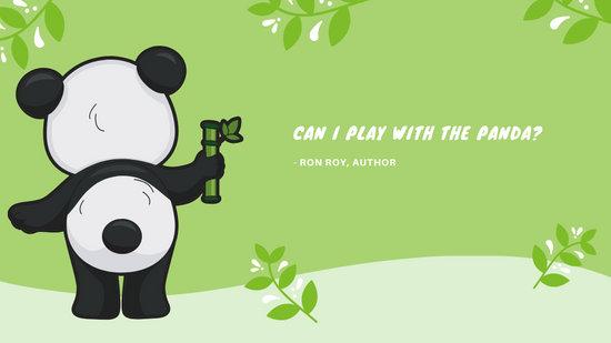 Green Panda Illustration Cute Desktop Wallpaper