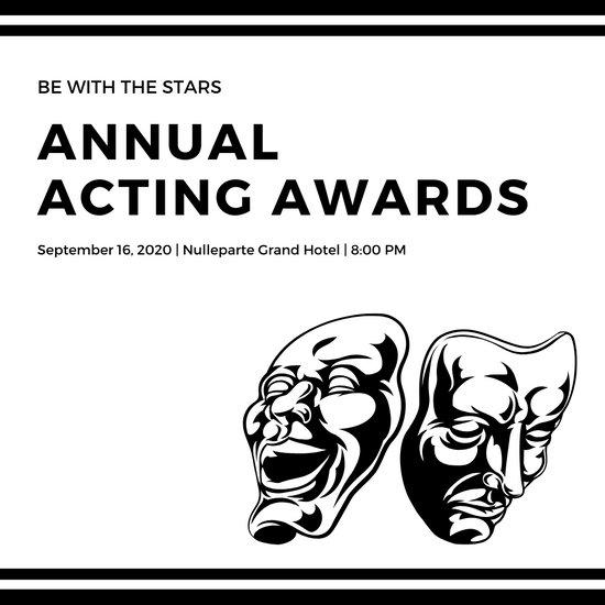 Black and White Masks Awards Night Invitation