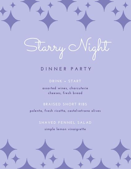 Violet Illustrated Dinner Party Menu