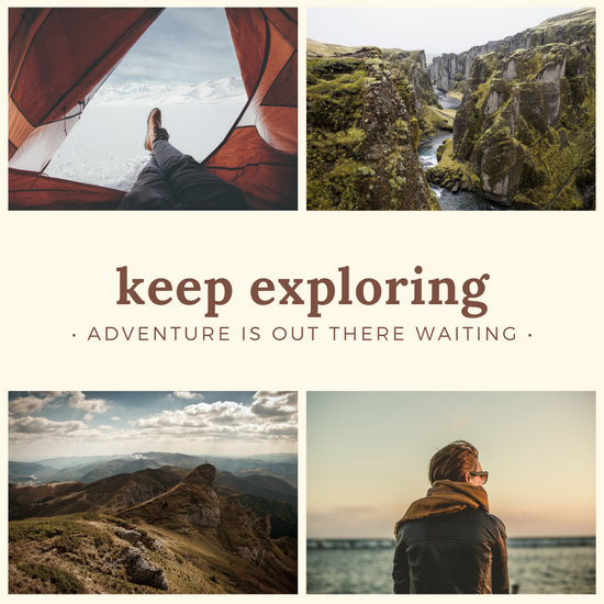 Brown Adventure Quote Collage Instagram Post