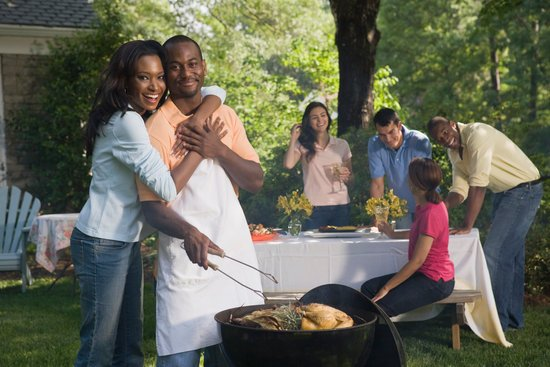 Couple at cook-out with friends