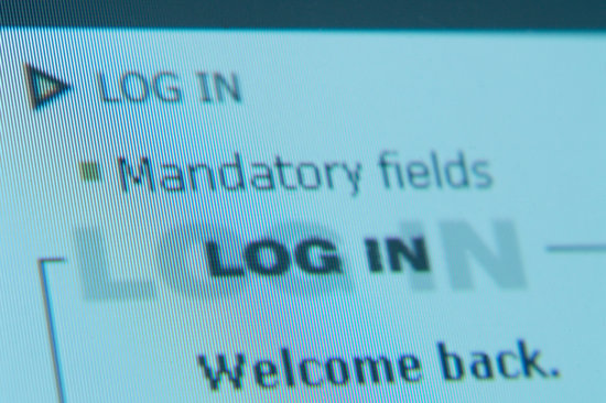 Close-up of a computer screen showing login details