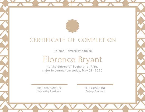 Ornate Pattern University Diploma Certificate