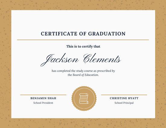 Beige & White Vintage High School Diploma Certificate
