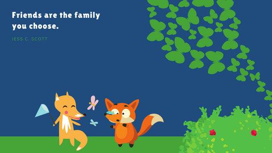 Dark Blue with Butterflies and Fox Vector Illustrations Cute Desktop Wallpaper