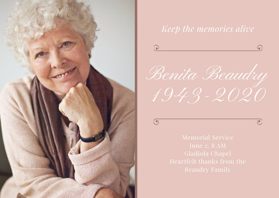 Pale Peach Celebration of Life Funeral Card