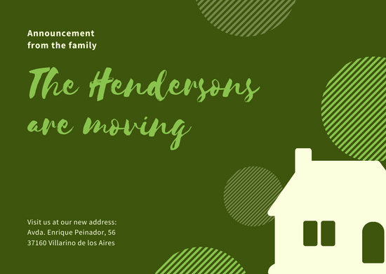 Green and Gray House Change of Address Card