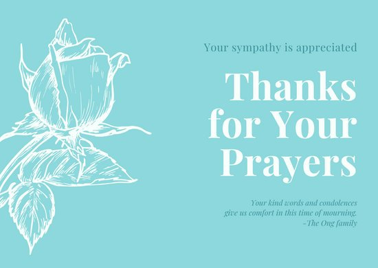 Light Blue and White Flower Illustration Funeral Thank You Card