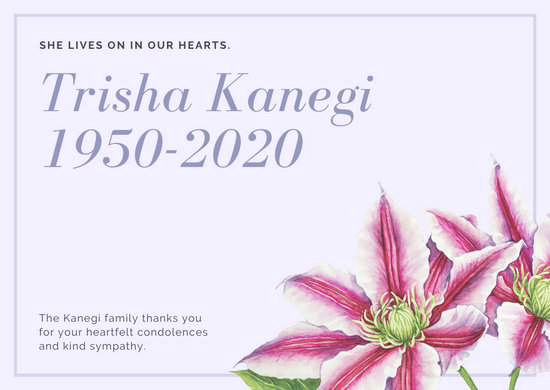 Soft Gray and Pink Clematis Flower Funeral Thank You Card