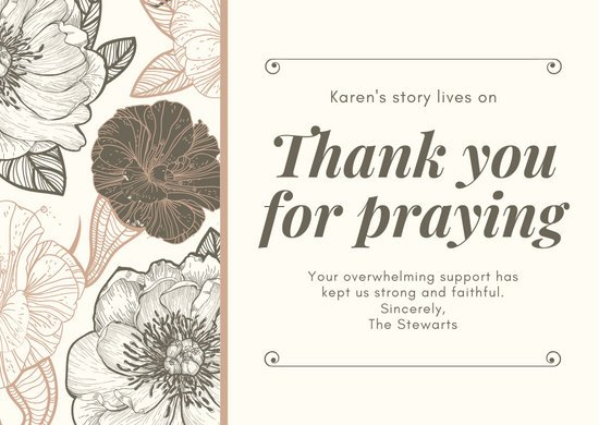 Peach and Brown Floral Funeral Thank You Card