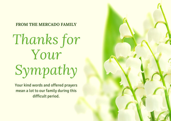 White Flower Funeral Thank You Card
