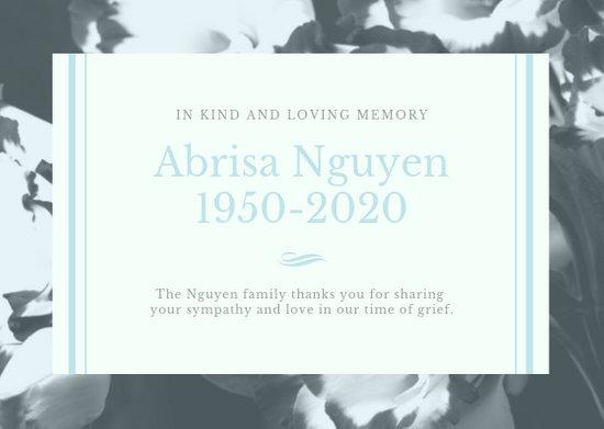 Grey Gold Funeral Floral Elegant Serif Thank You Card