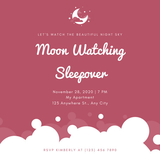 White Moon Maroon Background Sleepover Invitation