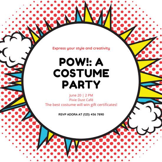Red Superhero Comics Costume Party Invitation