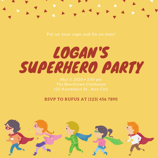 Yellow Illustrated Kids Superhero Invitation