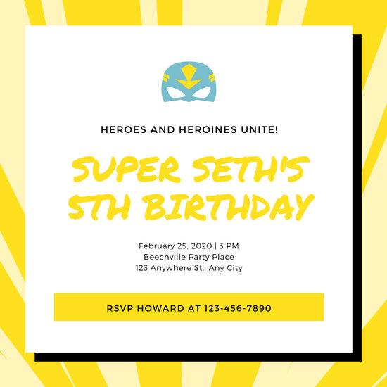 Yellow and White Superhero Invitation
