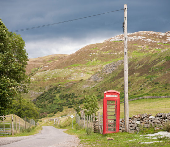 Traditional British Phone Box in the Scottish Highlands