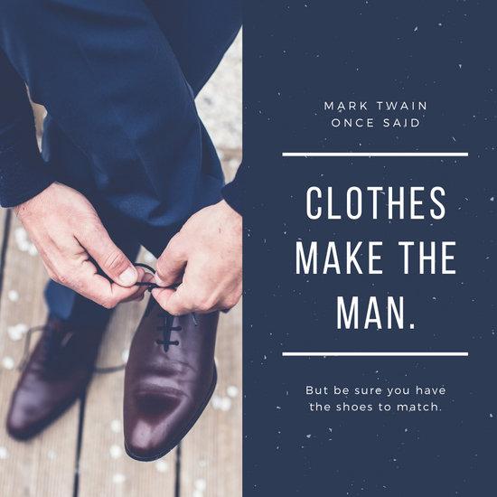 Blue Photo Men Fashion Shoes Instagram Post
