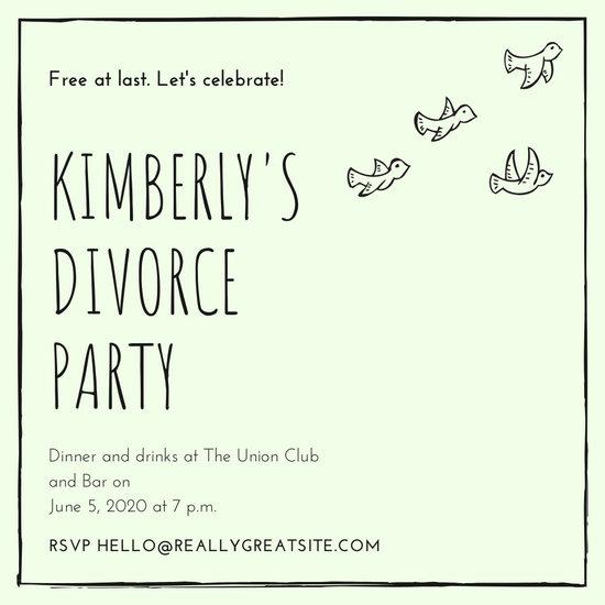 Black Green Cute Bird Divorce Party Invitation
