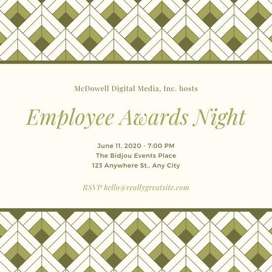 Olive Green and Cream Awards Night Invitation