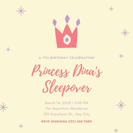 Pastel Tiara Princess Sleepover Invitation