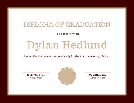 Maroon Formal High School Diploma Certificate