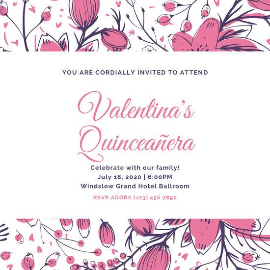 Pink Floral Illustration Quinceanera Invitation