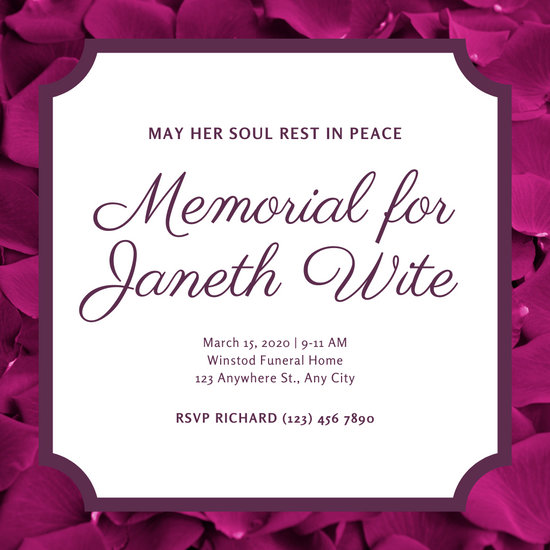 Floral Celebration of Life Invitation