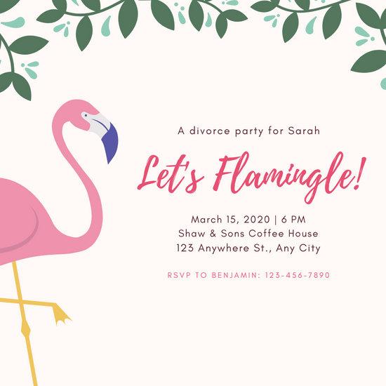 Pink Flamingo Divorce Party Invitation