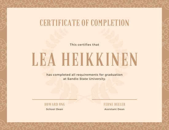 Beige Elegant Pattern High School Diploma Certificate