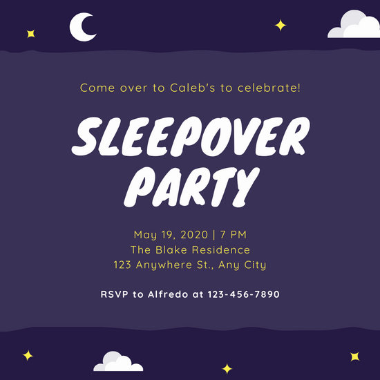 Dark Purple Night Stars Sleepover Party Invitation