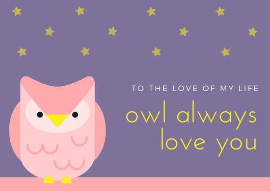 Pink Purple Owl Love Postcard